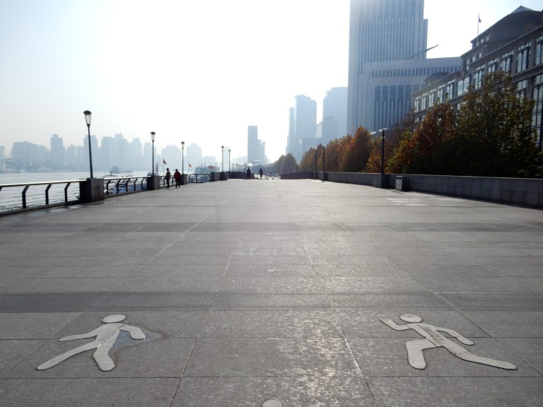 shanghai - the bund and pedestrian symbols