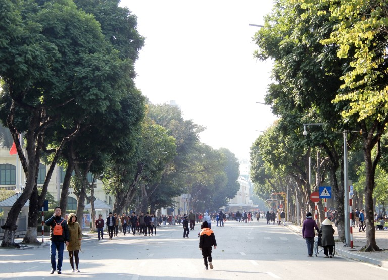 Hanoi - urban greenery and pedestrian zone