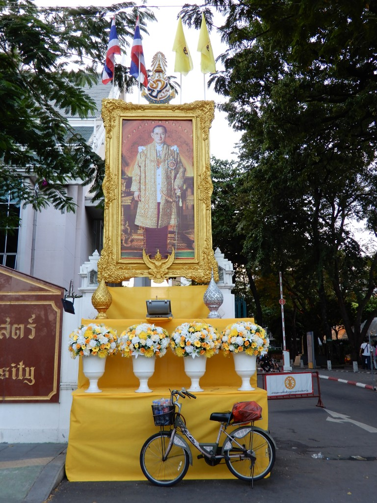 Bangkok - image of the king and bike parked