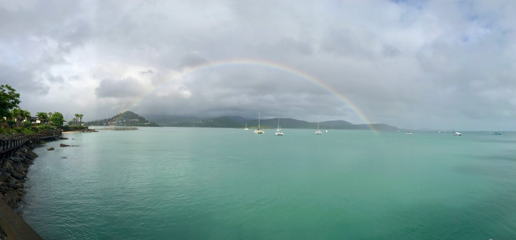 A Rainbow over the bay in the Whitsundays, a warm reminder of how every moment can be magic. (c) finfinnews