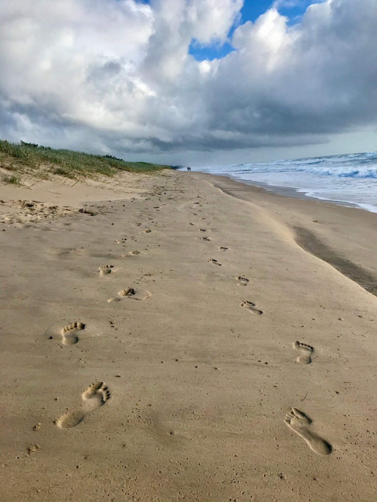 Two lines of footprints on the Sunshine Coast. They always remind me of the parable. (c) finfinnews